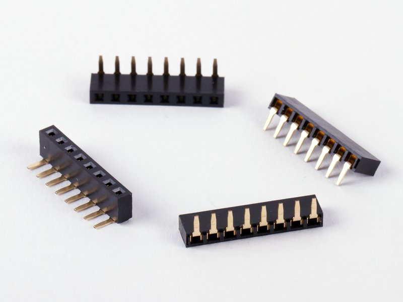 8-pin right-angle, short header socket