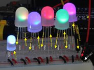 5 mm RGB Bullet Pixel LED shown on breadboard with 8 mm LEDs and microcontroller board (not included)