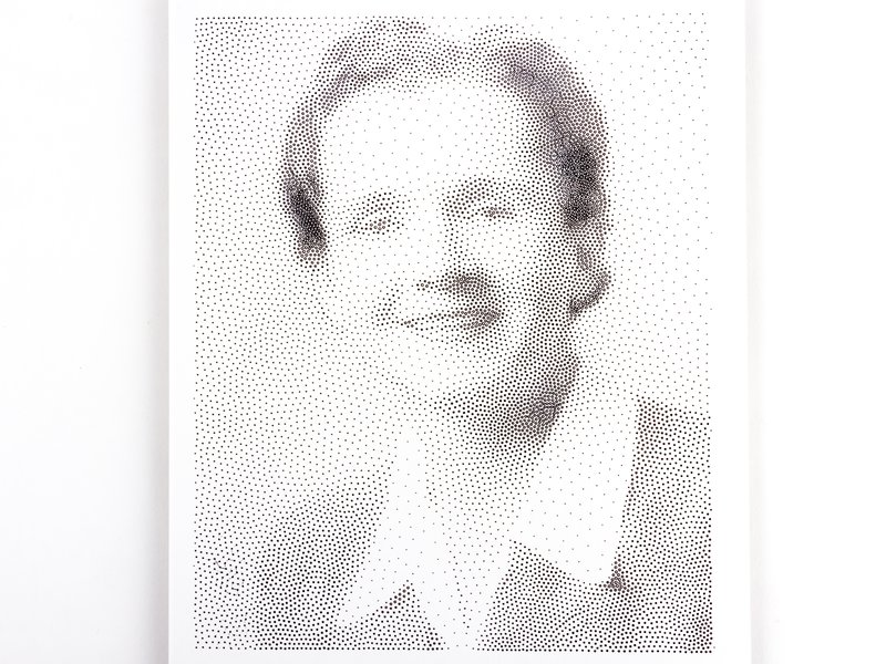 Stipple drawing (of Rachel Carson) with pen