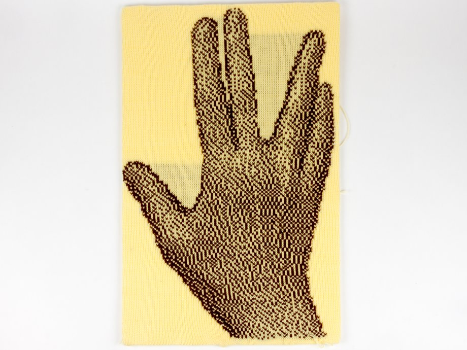 Knitted image of Live Long and Prosper hand gesture
