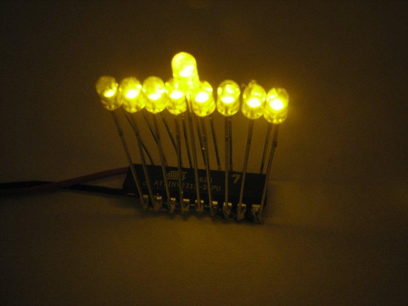 Mini Menorah Kit, 3 mm yellow LEDs