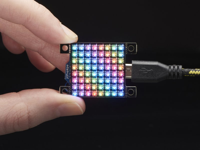 Adafruit DotStar High Density 8x8 Grid, powered, in hand