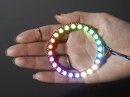 Neopixel ring lit up in hand