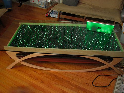Table with GREEN LED panels!